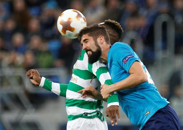 Soccer Football - Europa League Round of 32 Second Leg - Zenit Saint Petersburg vs Celtic - Stadium St. Petersburg, Saint Petersburg, Russia - February 22, 2018 Zenit St. Petersburg's Miha Mevlja in action with Celtic's Moussa Dembele REUTERS/Anton Vaganov