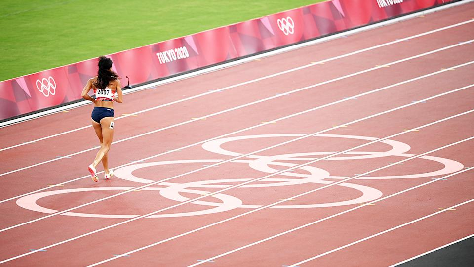 Katarina Johnson-Thompson, pictured here finishing the 200m despite injuring her calf at the Olympics.