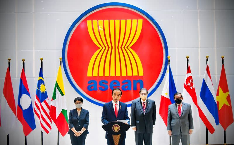 Indonesian President Joko Widodo speaks during a news conference after attending the ASEAN leaders' summit in Jakarta