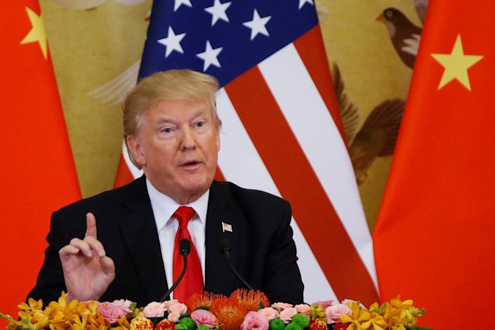 """President Donald Trump on November 9 in Beijing. <p class=""""copyright"""">Thomas Peter-Pool/Getty Images</p>"""