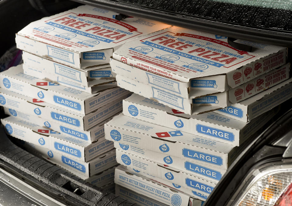 Spring Township, PA - July 10: The trunk of Irene Sileski's trunk is filled with pizzas. At the ManorCare Health Services in Spring Township Friday afternoon where a group from the Berks Democratic Women dropped off a donation of pizzas from Dominos, drinks, and gift bags for the residents July 10, 2020. As a precaution against the spread of coronavirus / COVID-19 everyone wore masks, and staff members carried everything into the facility.  (Photo by Ben Hasty/MediaNews Group/Reading Eagle via Getty Images)