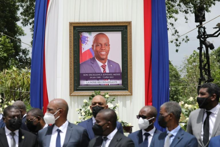 Officials attend a ceremony in honor of late Haitian president Jovenel Moise in Port-au-Prince