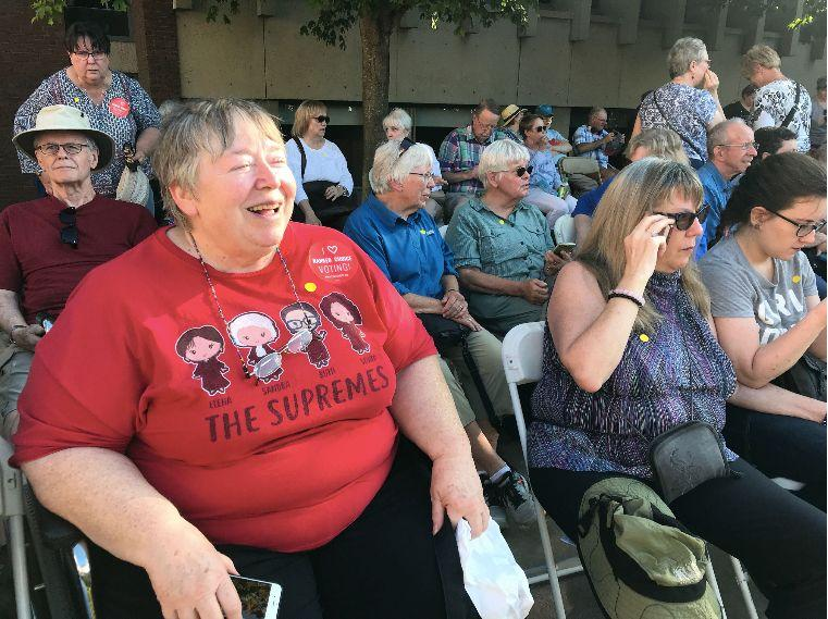 """""""I honestly feel that Elizabeth Warren is the president that we need now,"""" said Nancy Docken of St. Paul at the candidate's rally Monday. (Photo: Hayley Miller/HuffPost)"""