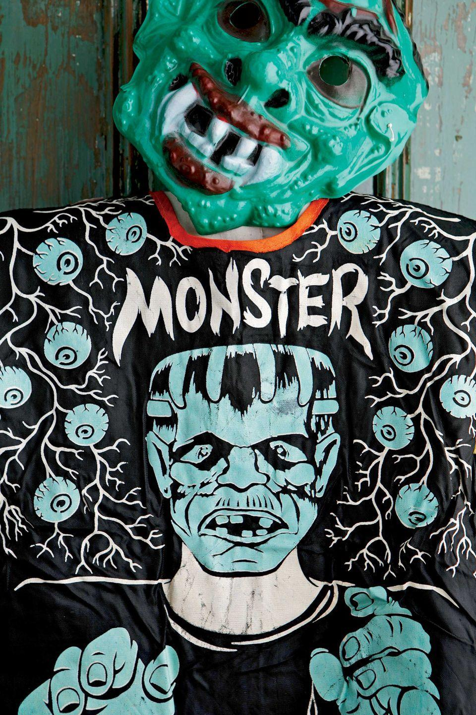 <p>This rather graphic monster costume, with eyeballs printed on its fabric for added creepiness, is from the 1960s. The costume includes a more modern hard plastic mask.</p>