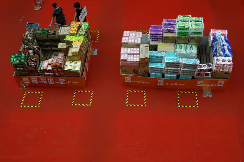 Instant noodles and toilet rolls are displayed for sale at a mall amid the coronavirus disease (COVID-19) outbreak in Singapore