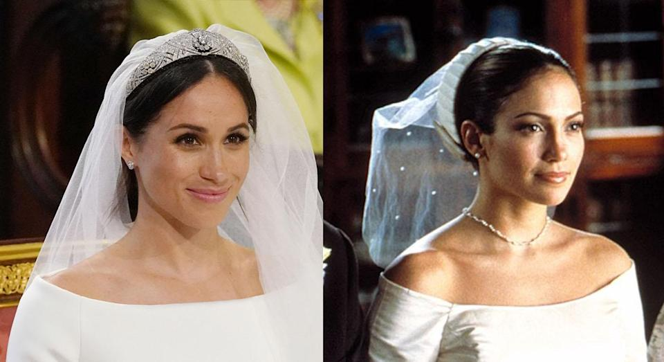 Meghan Markle may have taken some style inspiration from Jennifer Lopez in <em>The Wedding Planner</em>. (Photos: Getty/ <em>The Wedding Planner/</em>Columbia Pictures)
