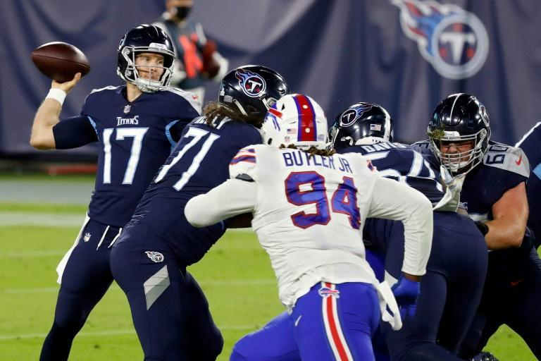 Tennessee quarterback Ryan Tannehill throws a pass in the first quarter against the Buffalo Bills as the Titans won a Covid-19-rescheduled battle of the unbeaten teams 42-16 in Nashville, Tennessee.