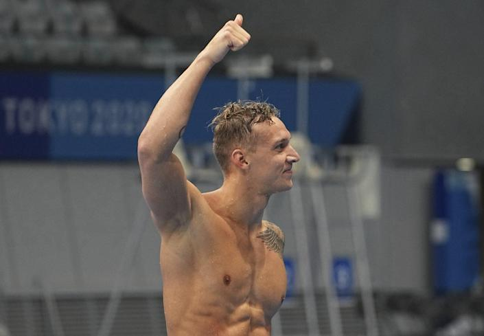 <p>Dressel was able to check-in with his loved ones — including wife Meghan — via video call at the conclusion of his races.</p>