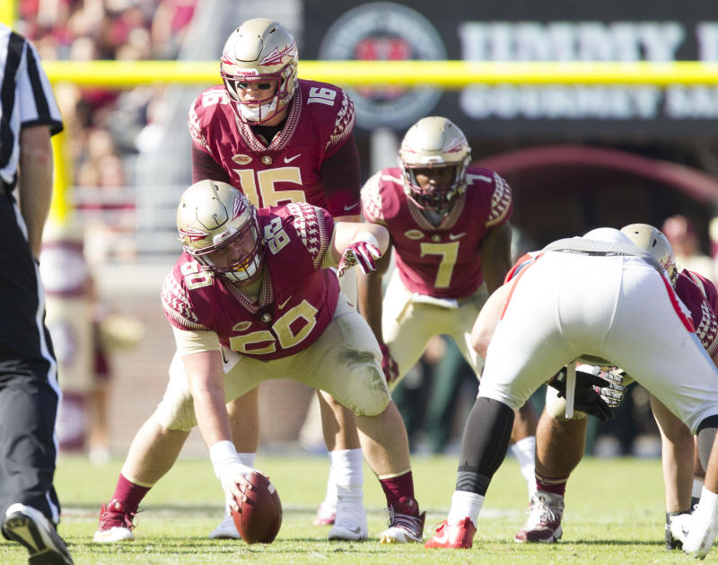 TALLAHASSEE, FL - NOVEMBER 18: Florida State Seminoles offensive lineman Andrew Boselli (60) calls out protection with Florida State Seminoles quarterback J.J. Cosentino (16) and Florida State Seminoles running back Ryan Green (7) during the game between the Delaware State Hornets and the Florida State Seminoles at Doak Campbell Stadium in Tallahassee, FL on November 18th, 2017. (Photo by Logan Stanford/Icon Sportswire via Getty Images)