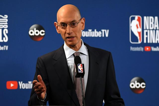 FILE PHOTO: NBA commissioner Adam Silver speaks during a press conference before the game between the Golden State Warriors and the Cleveland Cavaliers in game one of the 2018 NBA Finals at Oracle Arena in Oakland, California, U.S. May 31, 2018. Mandatory Credit: Kyle Terada/USA TODAY Sports/File Photo