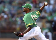 Oakland Athletics pitcher Edwin Jackson works against the Houston Astros in the first inning of a baseball game Friday, Aug. 17, 2018, in Oakland, Calif. (AP Photo/Ben Margot)