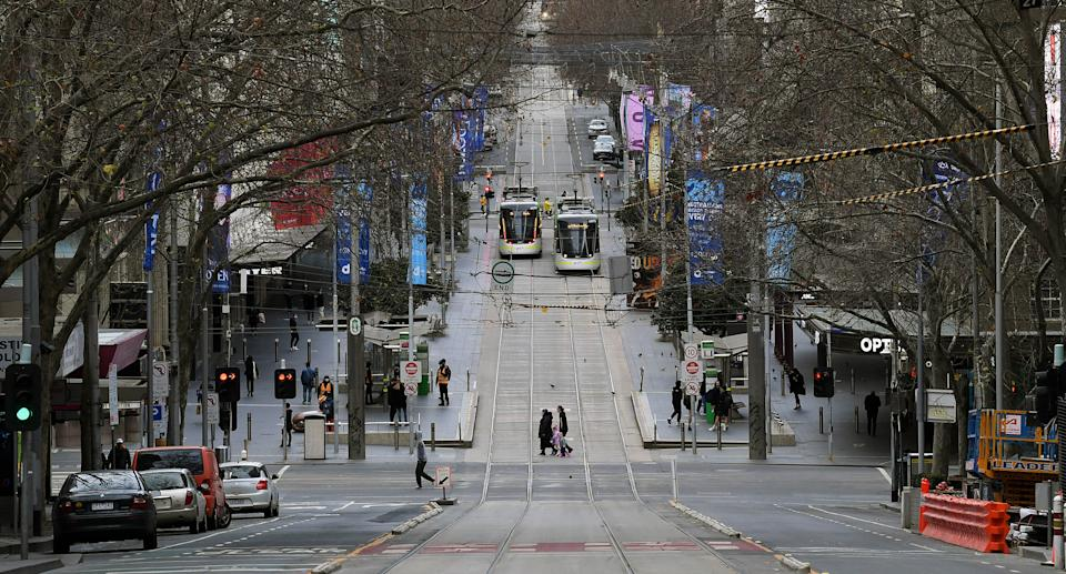 A general view along Bourke Street in Melbourne, Sunday, July 18, 2021. Victoria was in day three of lockdown. Source: AAP