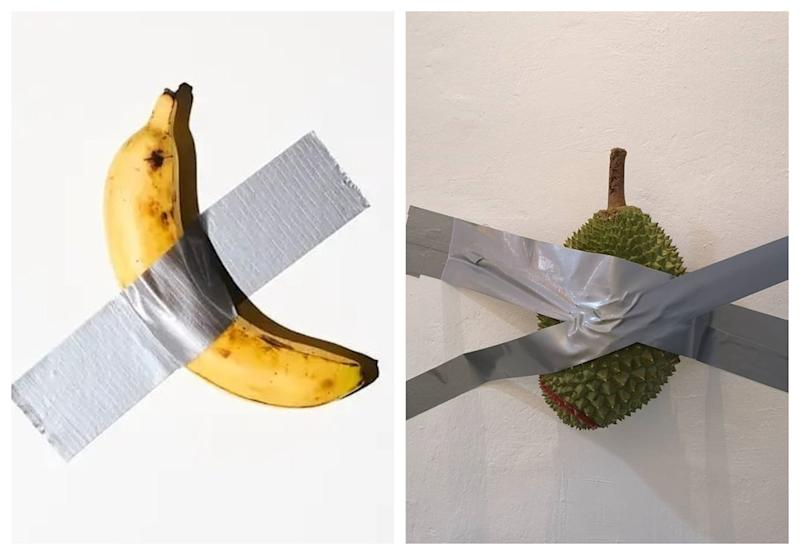 Singaporean durian seller comes up with his own version of 'duct-taped banana' artwork using durian. — Picture via Instagram/angkaryong and Facebook/99oldtrees