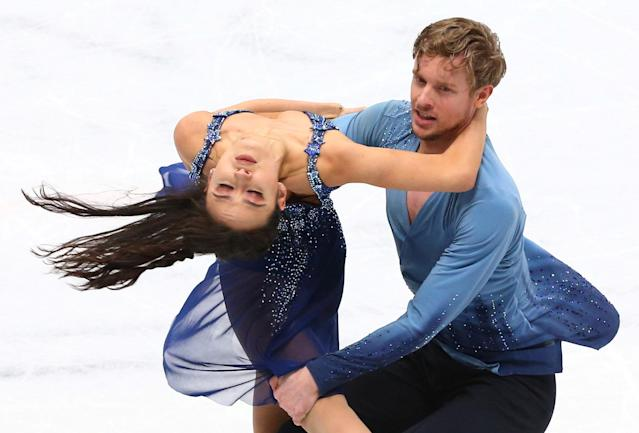 Figure Skating - World Figure Skating Championships - The Mediolanum Forum, Milan, Italy - March 24, 2018 Madison Chock and Evan Bates of the U.S. during the Ice Dance Free Dance REUTERS/Alessandro Bianchi