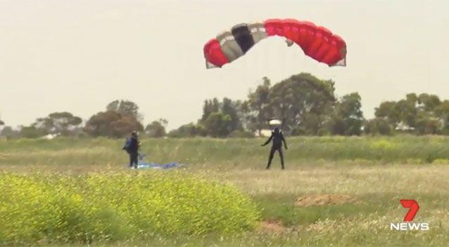 Four skydivers were involved in a near-miss. Source: 7News