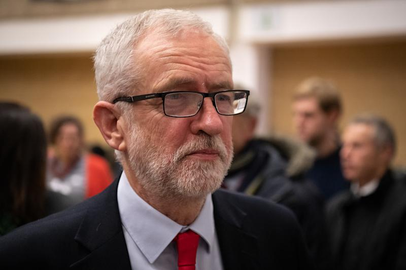LONDON, ENGLAND - DECEMBER 13: Labour Party leader Jeremy Corbyn speaks with supporters at Sobell leisure centre after retaining his parliamentary seat on December 13, 2019 in London, England. Labour leader Jeremy Corbyn has held the Islington North seat since 1983. The current Conservative Prime Minister Boris Johnson called the first UK winter election for nearly a century in an attempt to gain a working majority to break the parliamentary deadlock over Brexit. The election results from across the country are being counted overnight and an overall result is expected in the early hours of Friday morning. (Photo by Leon Neal/Getty Images)