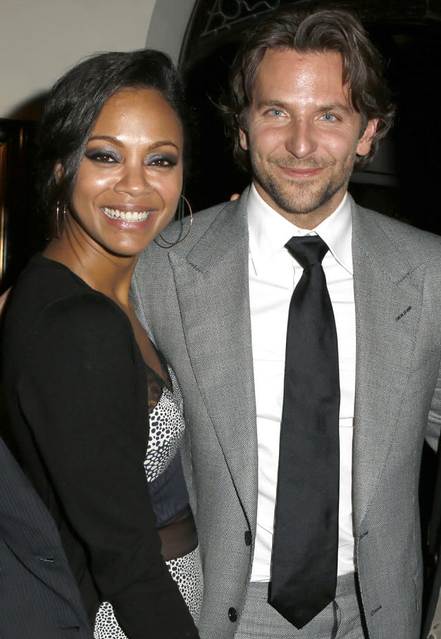 <p><em><em><em>The Words</em> co-stars Saldana and Bradley Cooper started dating after Saldana called off her engagement and were seen together at a party on Dec. 12, 2012, for <em>Silver Linings Playbook</em>. The on-again off-again relationship lasted just over a year. (Photo: Jeff Vespa/Getty Images) </em></em></p>