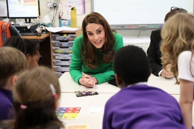 Kate during a visit to a primary school in 2019 in support of Mental Health Week. Chris Jackson/PA Wire