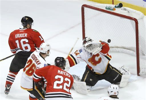 Calgary Flames goalie Miikka Kiprusoff, from Finland, is unable to make a glove save on a goal by Chicago Blackhawks defenseman Brent Seabrook as Marcus Kruger (16), from Sweden, Dennis Wideman, and Jamal Mayers watch during the second period of an NHL hockey game Tuesday, March 26, 2013 in Chicago. (AP Photo/Charles Rex Arbogast)