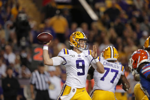 LSU quarterback Joe Burrow (9) passes in the first half of an NCAA college football game against Florida in Baton Rouge, La., Saturday, Oct. 12, 2019. (AP Photo/Bill Feig)