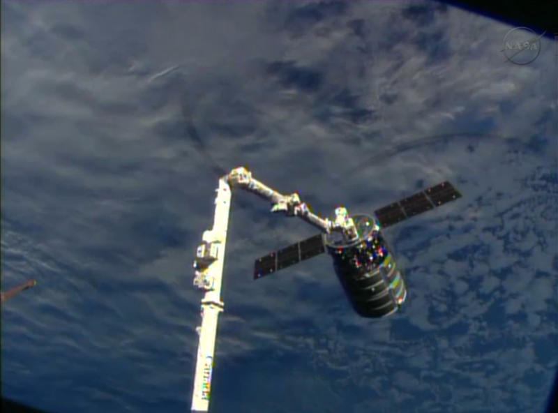 This framegrabbed image provided by NASA-TV shows the Cygnus spacecraft attached to the Canadarm 2 on the International Space Station Sunday Sept. 29, 2013. At the time both vehicles were travelling over the Indian Ocean. (AP Photo/NASA-TV)