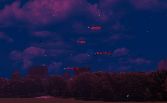 This sky map shows the locations of Jupiter, Mars, Mercury and the moon just before dawn on Aug. 4, 2013 as seen from mid-northern latitudes.