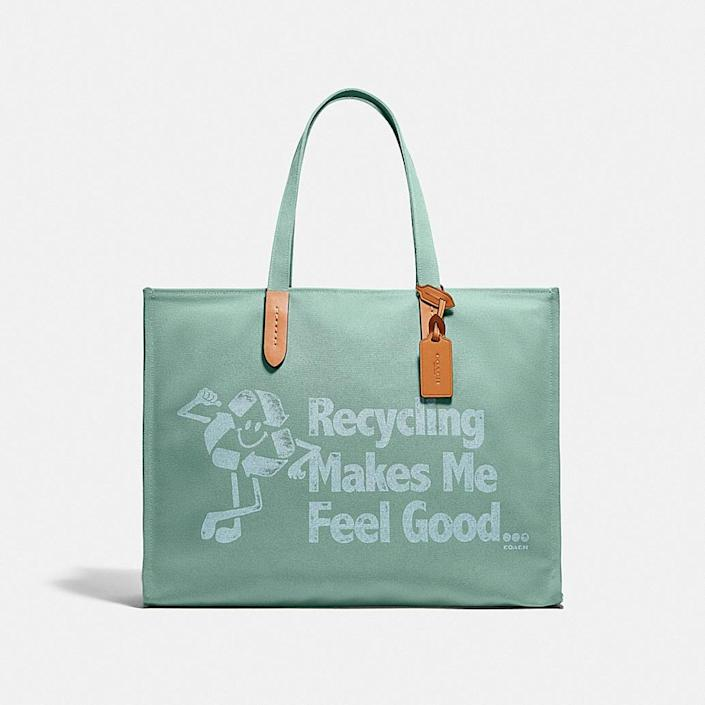<p>Go for a sustainable option and get the fun <span>Coach 100 Percent Recycled Tote 42</span> ($195).</p>