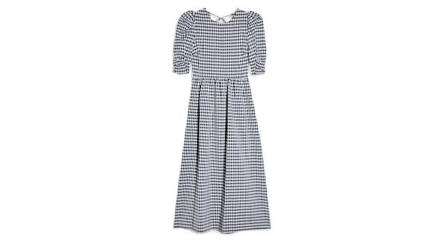 Black And White Gingham Cross Back Smock Midi Dress