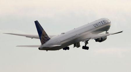 United Airlines Boeing 767 aircraft takes off from Zurich Airport