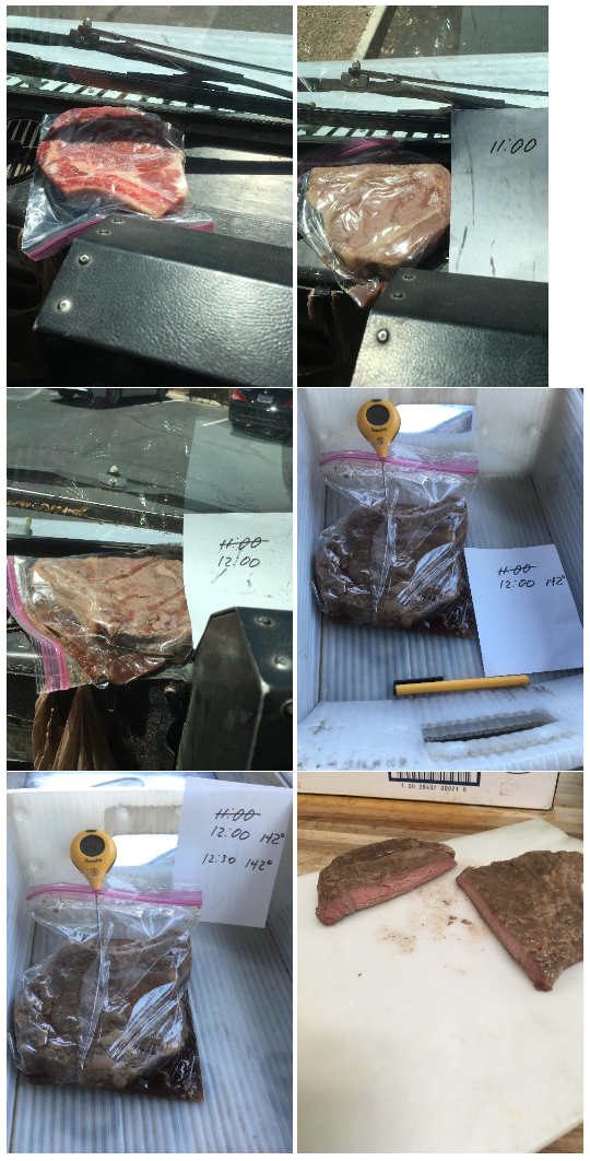 A mail carrier cooked a steak on his truck's dashboard. (Photo: Courtesy of Rep. Shawnna Bolick)