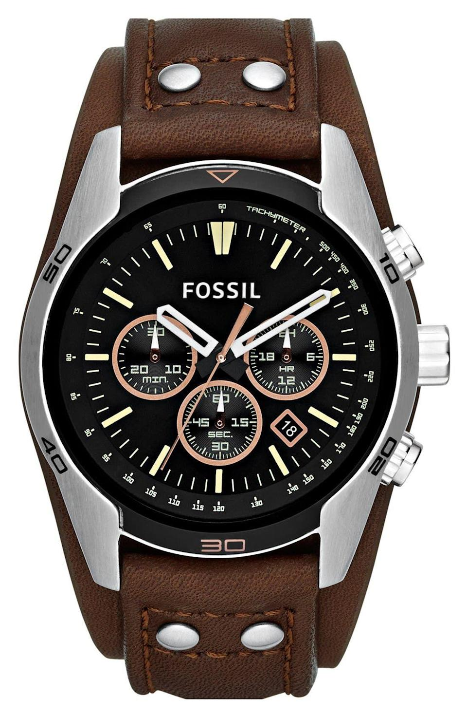 """<p><strong>FOSSIL</strong></p><p>nordstrom.com</p><p><strong>$94.50</strong></p><p><a href=""""https://go.redirectingat.com?id=74968X1596630&url=https%3A%2F%2Fwww.nordstrom.com%2Fs%2Ffossil-sport-chronograph-leather-cuff-watch-44mm%2F3553217&sref=https%3A%2F%2Fwww.esquire.com%2Fstyle%2Fg36535194%2Fnordstrom-mens-sale-half-yearly-spring-2021%2F"""" rel=""""nofollow noopener"""" target=""""_blank"""" data-ylk=""""slk:Shop Now"""" class=""""link rapid-noclick-resp"""">Shop Now</a></p><p>It even <em>looks</em> fast.</p>"""