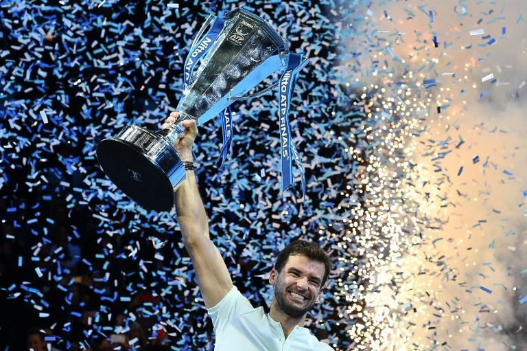 Bulgaria's Grigor Dimitrov celebrates winning the ATP World Tour Finals