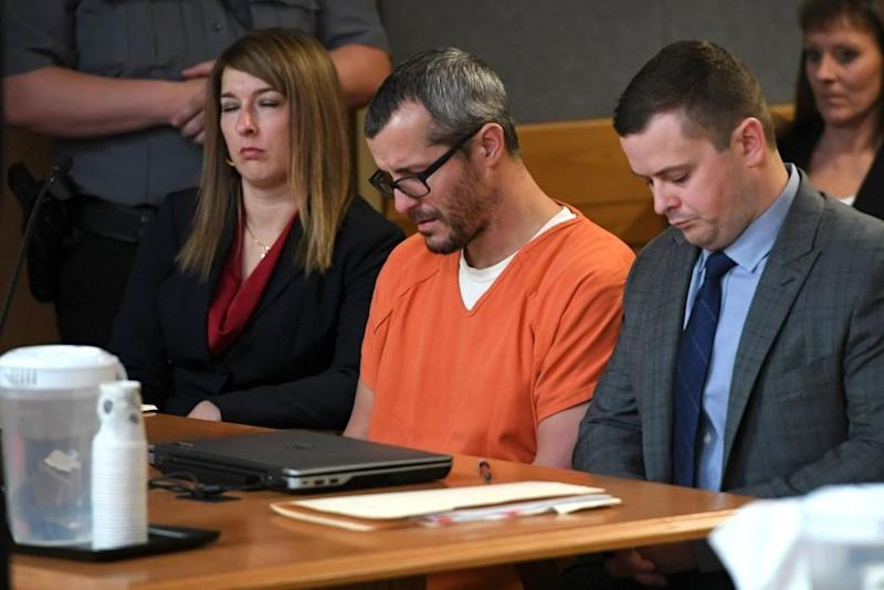 Chris Watts (center) at his sentencing hearing court on Monday in Colorado