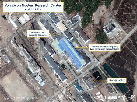 A view of what researchers of Beyond Parallel, a CSIS project, describe as a probably 20-foot shipping container near the uranium enrichment plant at the Yongbyon Nuclear Research Center in North Pyongan Province, North Korea, in this commercial satellite image taken April 12, 2019 and released April 16, 2019.    CSIS/Beyond Parallel/DigitalGlobe 2019 via REUTERS