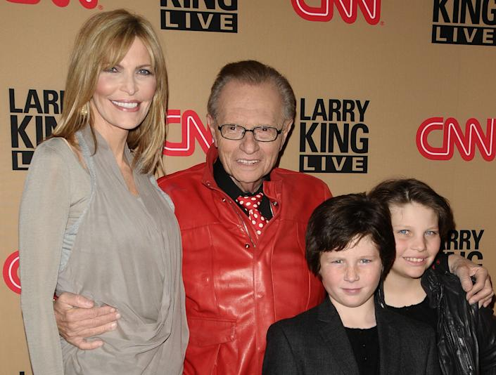 "King with his seventh wife, Shawn Southwick, and sons Cannon King and Chance King at a party for the final broadcast of ""Larry King Live"" on Dec. 16, 2010, in Beverly Hills, California. (Photo: Jason LaVeris via Getty Images)"