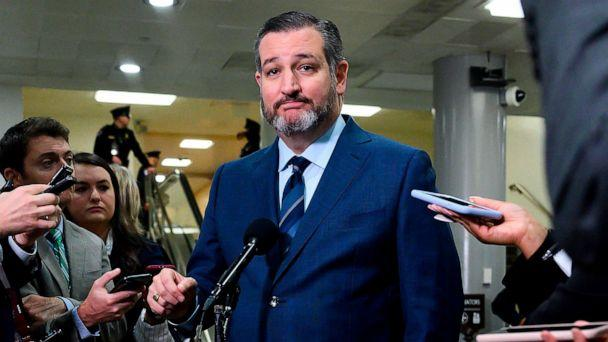 PHOTO: In this file photo taken on Jan. 23, 2020, Sen. Ted Cruz, R-Texas, speaks during a press conference during a break in the Senate impeachment trial of President Donald Trump at the Capitol in Washington, D.C. (Andrew Caballero-Reynolds/AFP via Getty Images, File)