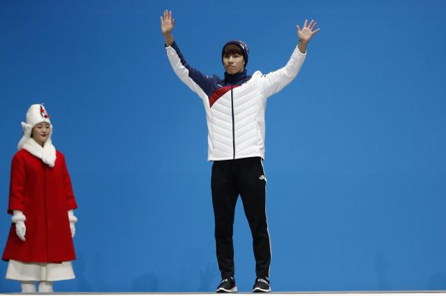 Medals Ceremony - Short Track Speed Skating Events - Pyeongchang 2018 Winter Olympics - Men's 500m - Medals Plaza - Pyeongchang, South Korea - February 23, 2018 - Silver medalist Hwang Dae-heon of South Korea on the podium.