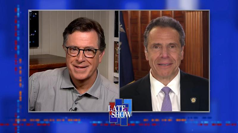 NEW YORK - MAY 7: The Late Show with Stephen Colbert and guest New York Governor Andrew Cuomo during Thursday\'s May 7, 2020 show. Photo is a screen grab. (Photo by CBS via Getty Images)