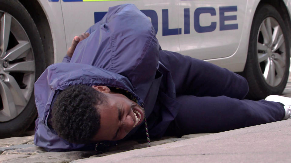 FROM ITV  STRICT EMBARGO - No Use Before Tuesday 20th July 2021  Coronation Street - Ep 10386  Monday 26th July 2021 - 1st Ep  Michael Bailey [RYAN RUSSELL] and James Baliey [NATHAN GRAHAM] test drive a sports car after James is offered 30k for his interview. A police car pulls them over and when James questions the officer as to why he pulled them over, the officer arrests James for obstruction and handcuffs him.  James trips and injures his leg.   Picture contact David.crook@itv.com   This photograph is (C) ITV Plc and can only be reproduced for editorial purposes directly in connection with the programme or event mentioned above, or ITV plc. Once made available by ITV plc Picture Desk, this photograph can be reproduced once only up until the transmission [TX] date and no reproduction fee will be charged. Any subsequent usage may incur a fee. This photograph must not be manipulated [excluding basic cropping] in a manner which alters the visual appearance of the person photographed deemed detrimental or inappropriate by ITV plc Picture Desk. This photograph must not be syndicated to any other company, publication or website, or permanently archived, without the express written permission of ITV Picture Desk. Full Terms and conditions are available on  www.itv.com/presscentre/itvpictures/terms
