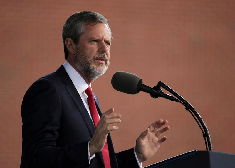 Jerry Falwell, the president of Liberty University, speaks during the school's commencement ceremony in 2017. (Alex Wong via Getty Images)
