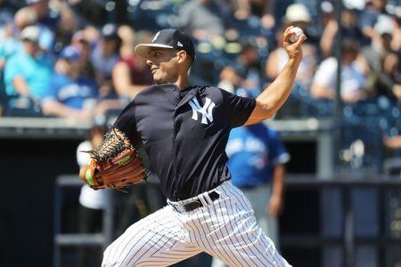 Mar 23, 2019; Tampa, FL, USA; New York Yankees pitcher Gio Gonzalez (43) throws a pitch during the sixth inning against the Toronto Blue Jays at George M. Steinbrenner Field. Mandatory Credit: Kim Klement-USA TODAY Sports