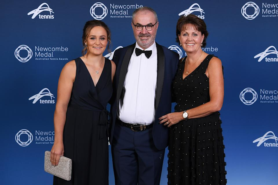 Pictured here, Ash Barty with parents Robert and Josie at the 2019 Newcombe Medal awards night.
