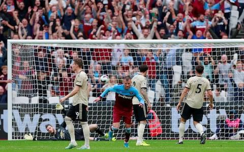 West Ham United's Andriy Yarmolenko celebrates scoring their first goal - Credit: Reuters