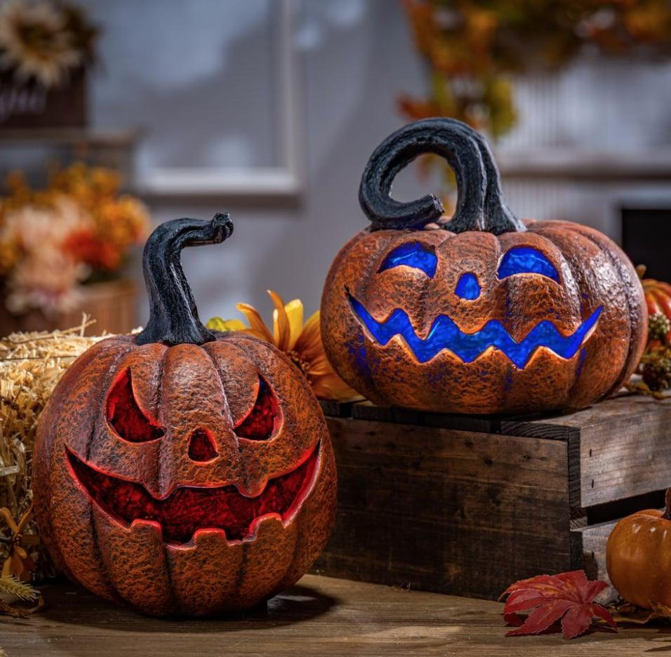 <p>In case you run out of time to carve your own pumpkins this year, pick up a set of Home Depot's <span>Delightfully Spooky Lighted Halloween Jack-O-Lanterns</span> ($60). These battery-operated pumpkins rotate colors, casting a festive glow over your space.</p>