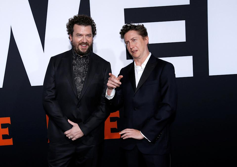 "Writer Danny McBride (L) and director David Gordon Green pose at a premiere for the movie ""Halloween"" in Los Angeles, California, U.S., October 17, 2018. REUTERS/Mario Anzuoni"