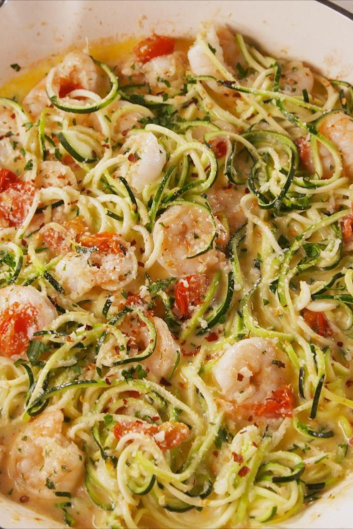 "<p>Oodles of zoodles!</p><p>Get the recipe from <a href=""https://www.delish.com/cooking/recipe-ideas/a19664978/garlicky-shrimp-zucchini-pasta-recipe/"" rel=""nofollow noopener"" target=""_blank"" data-ylk=""slk:Delish"" class=""link rapid-noclick-resp"">Delish</a>.</p>"