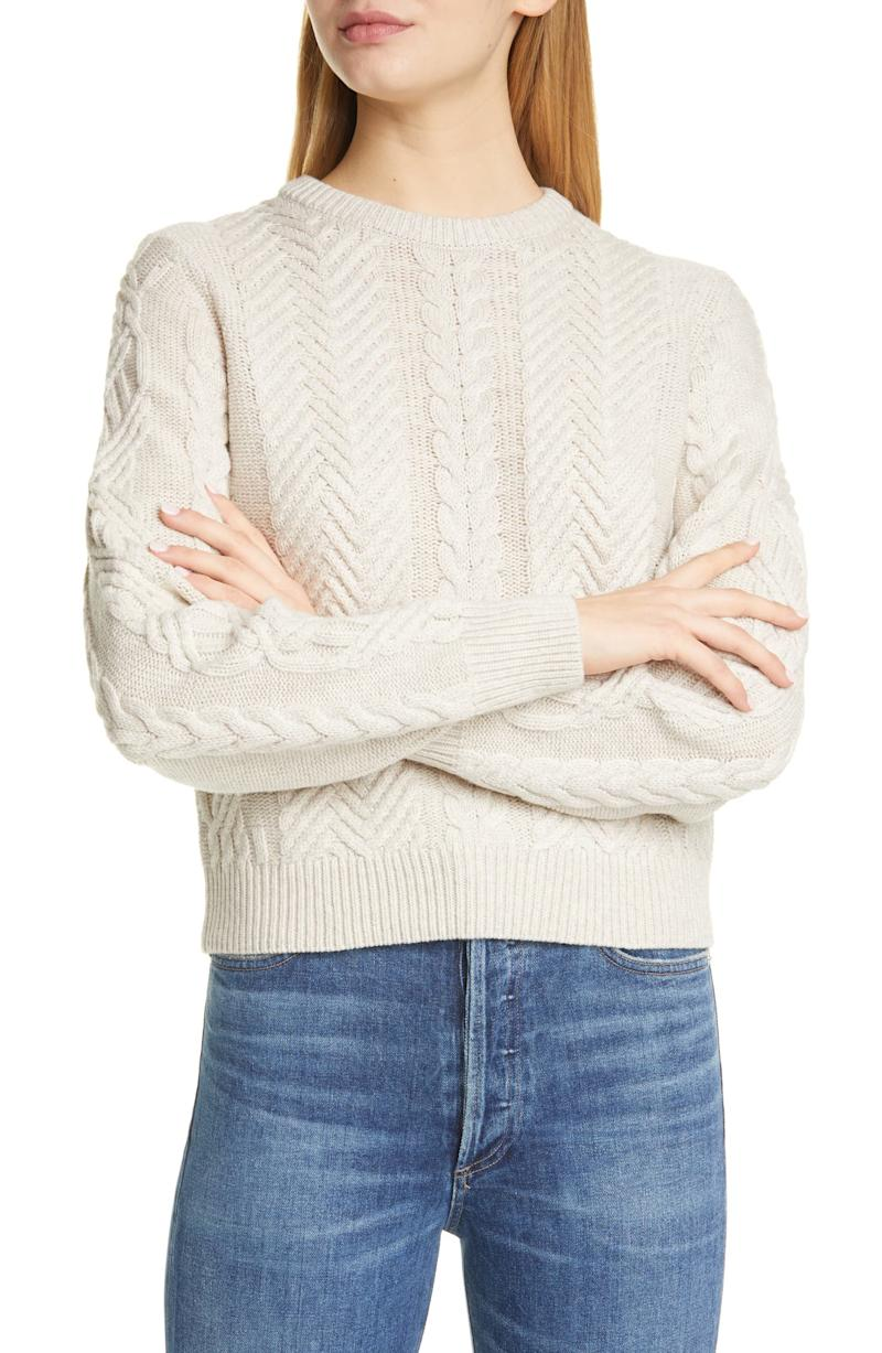 Theory Cable Wool & Cashmere Crop Sweater. Image via Nordstrom.