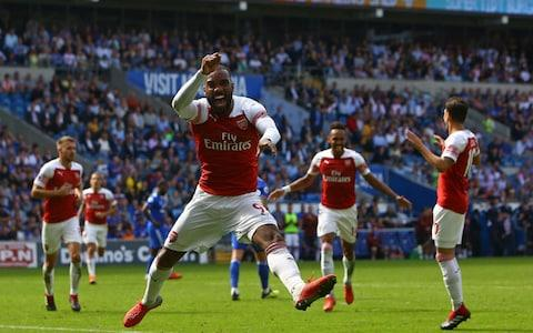 <span>Lacazette's winner against Cardiff was his first goal of the season </span> <span>Credit: AFP </span>