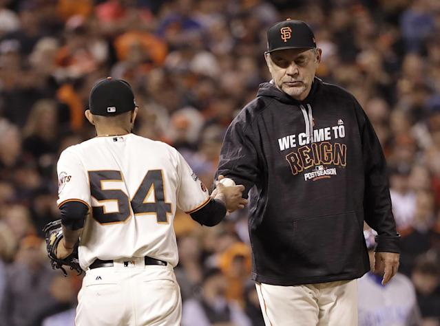 Sergio Romo was one of the five Giants relievers in the ninth. (AP)
