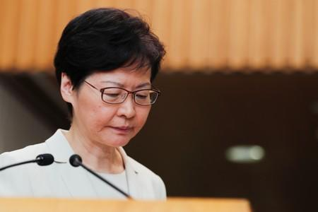 Hong Kong's Chief Executive Carrie Lam addresses a news conference in Hong Kong